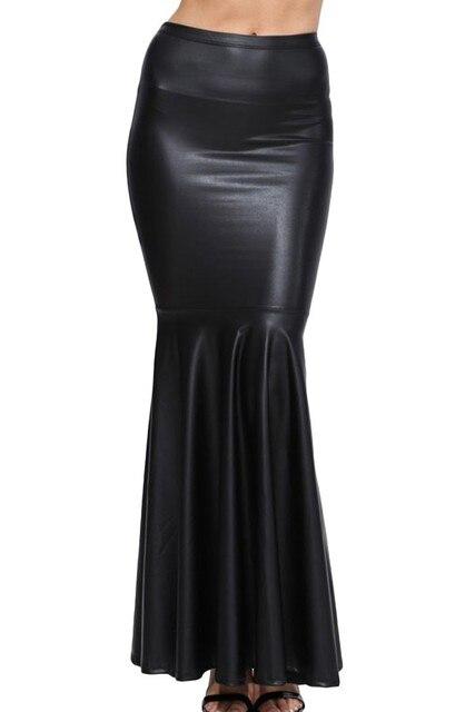 553511164d Falda grande de piel sintética negra larga de talla grande para mujer Saia  Longa Femininas mujeres
