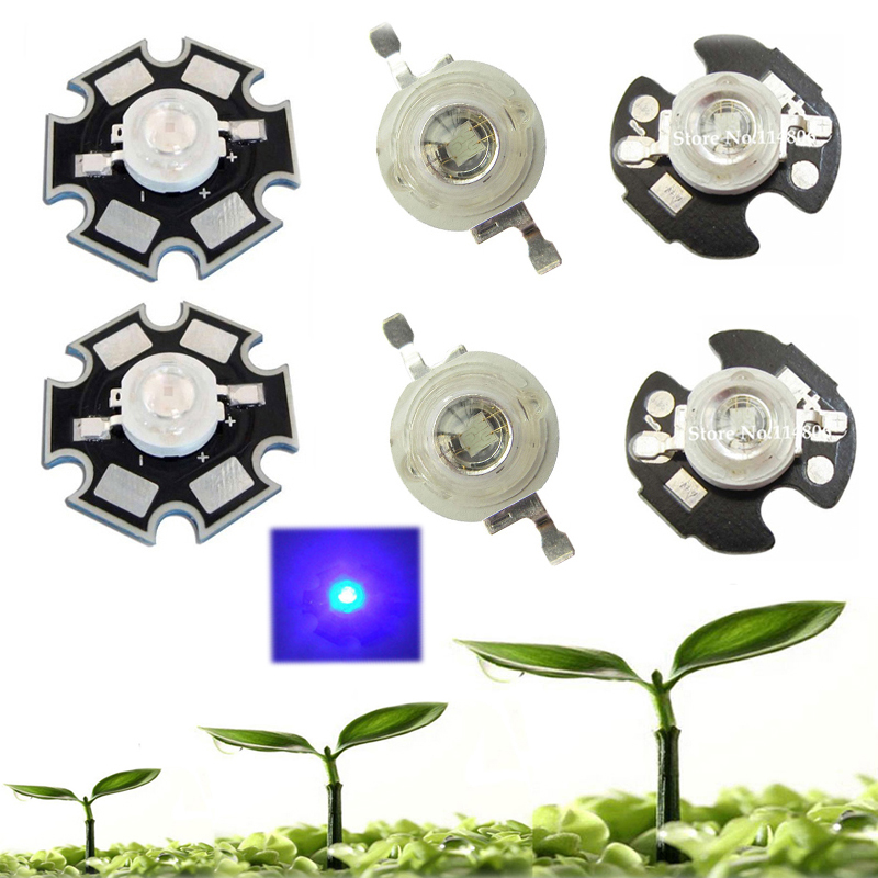 5 10 20 50 100pcs 1w 30mil 3w 45mil Blue <font><b>460nm</b></font> ~ 465nm <font><b>LED</b></font> Bulb Plant Grow Light Lamp Diodes With 20mm Or 16mm Plates image