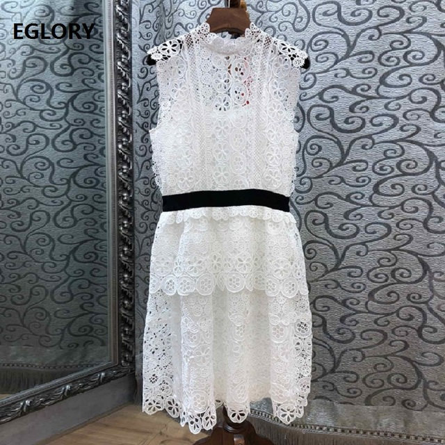 Lace Dress 2019 Spring Summer Party Sexy Dresses Ladies Allover Crochet Lace Embroidery Sleeveless Cascading Ruffle Dress Short