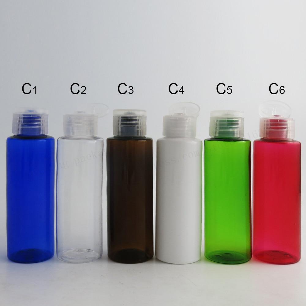 30 х 100 мл DIY прозрачная Янтарная Синий Красный Зеленый Белый pet Пластик бутылки с дозатором пластиковый контейнер для косметики оснастки верхней Кепки
