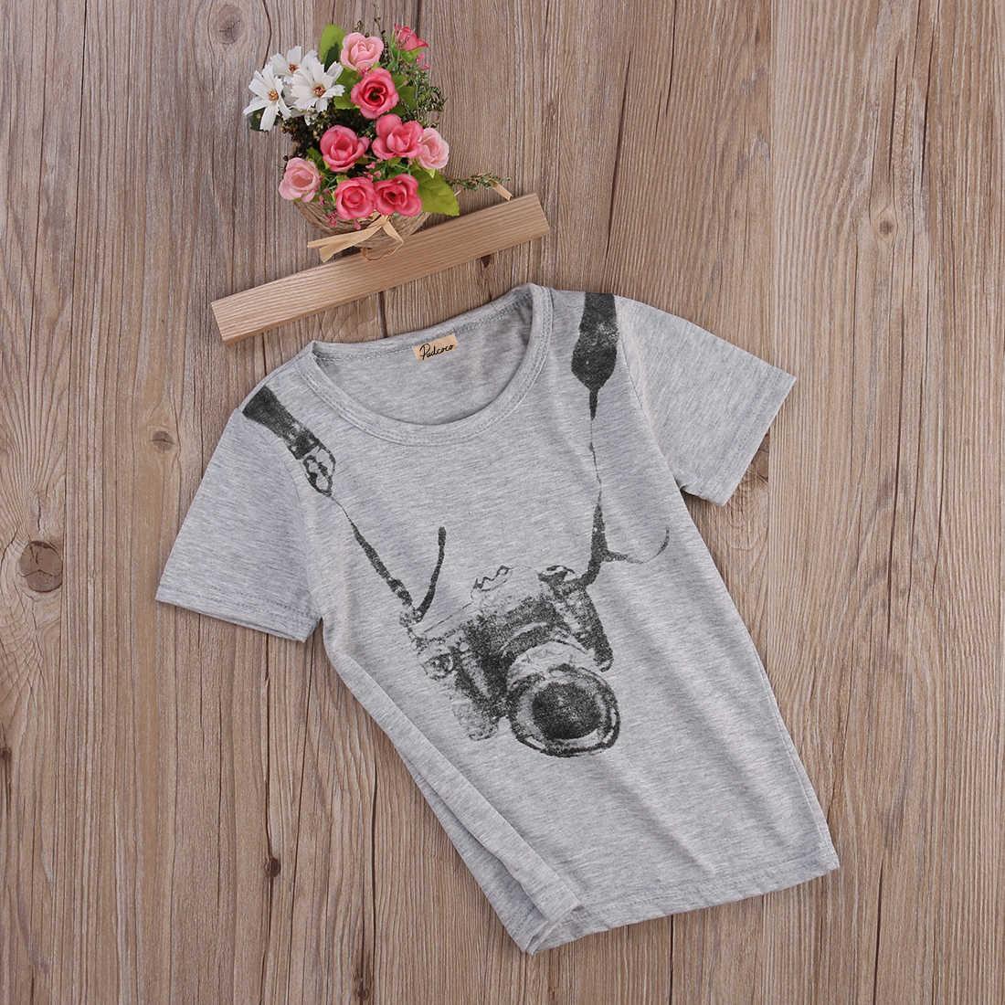 Новинка 2017 года, одежда с короткими рукавами, 1 шт., футболки для маленьких мальчиков, топы, комплекты, спортивная одежда, детская блузка, летняя одежда