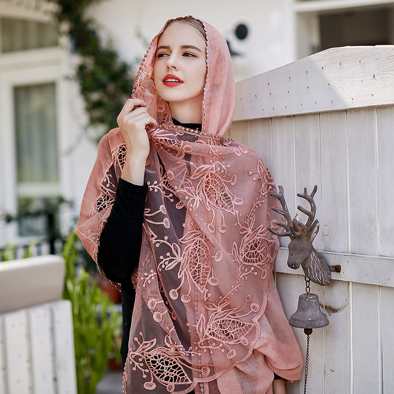 2018 New Pattern Cotton Lace Monochrome Both Split Joint Long Piece Of Cloth Scarf Autumn Summer Flower Embroidery Muslim Hijab