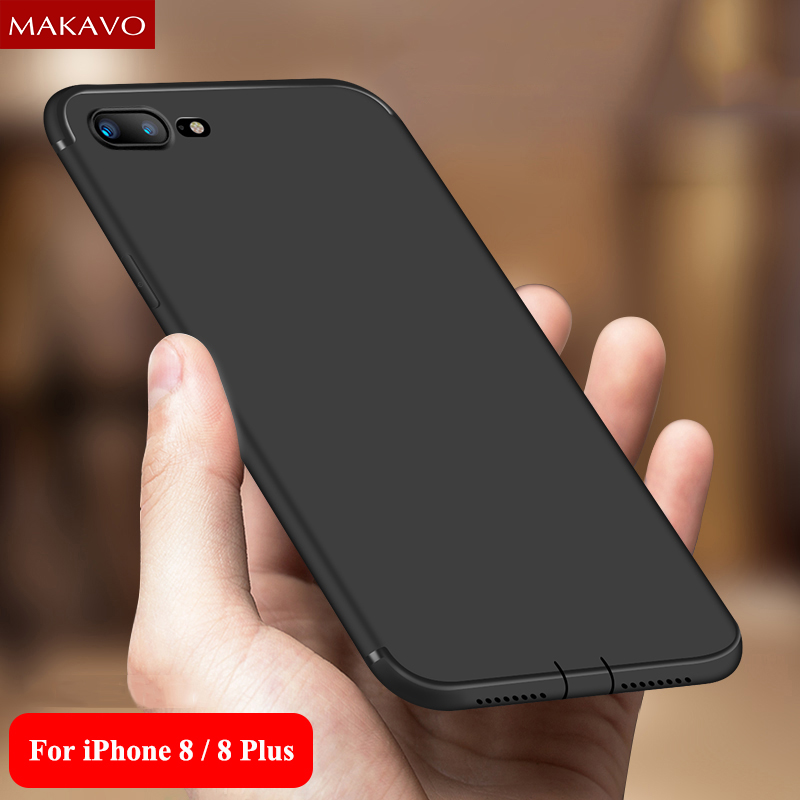 MAKAVO Cover For iPhone 8 Case 360 Protection Soft Silicone Housing Slim Matte Phone Cases For iPhone8 iPhone 8 Plus 7 7Plus