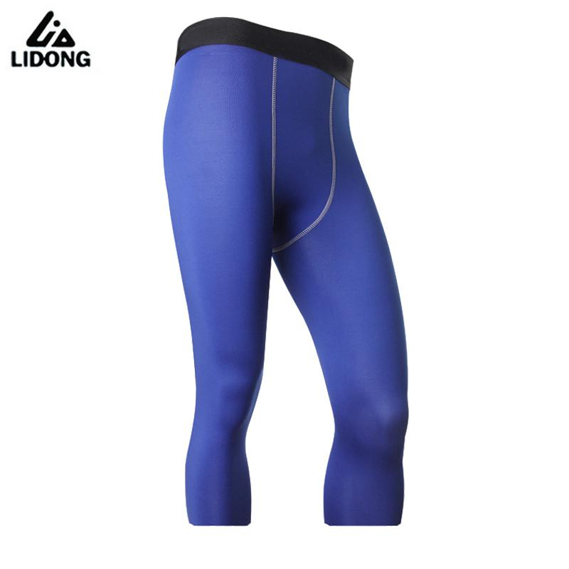 Mens Compression Pants Sports 3/4 Running Tights Leggings Dry Fit Bodybuilding Breathable Fitness Gym Pants Sport Trousers 1050
