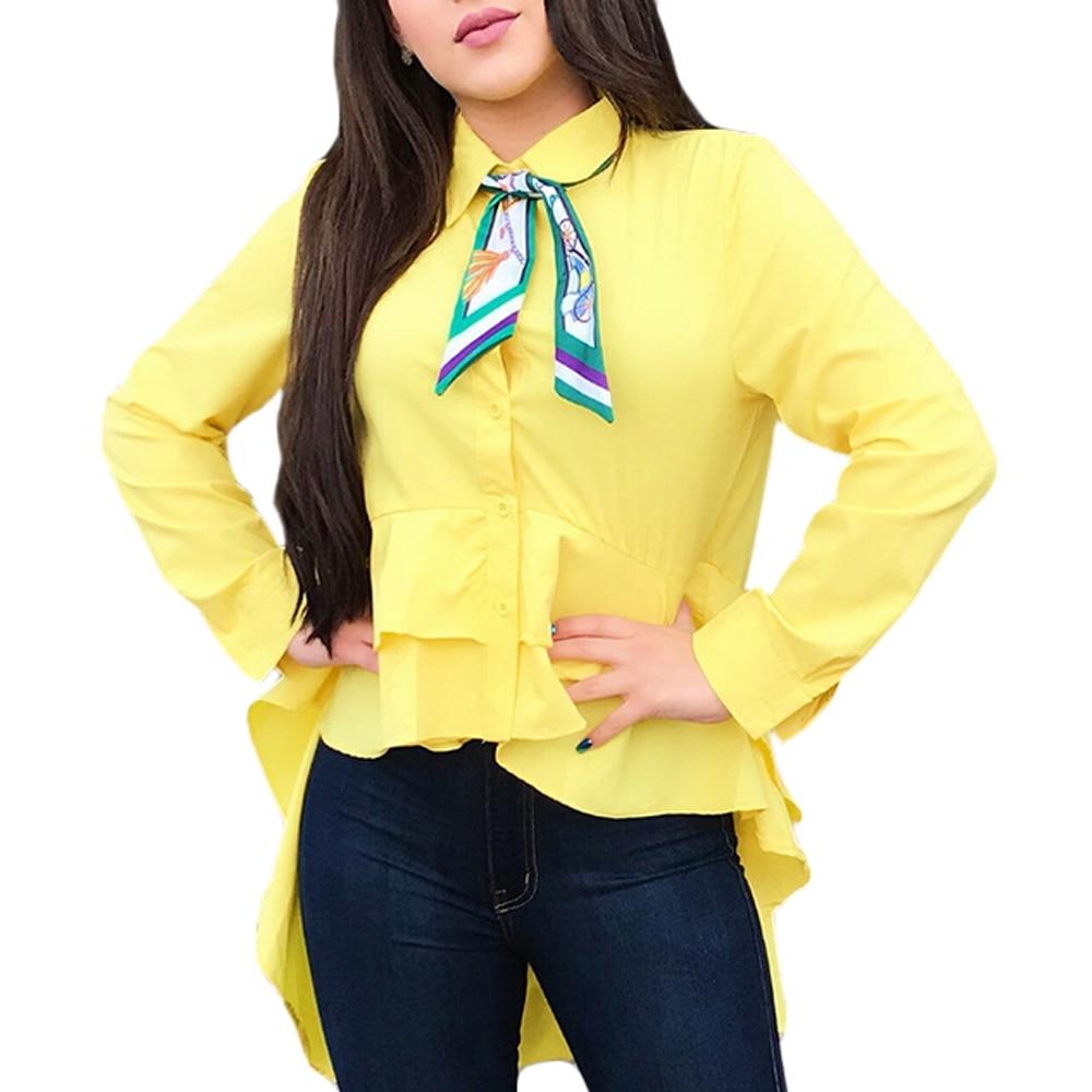 Yellow Pink Peplum   Shirts   With Ruffles Hem Women Button Down Long Sleeve   Blouse     Shirt   2018 Summer Elegant Work Wear   Blouses   Tops
