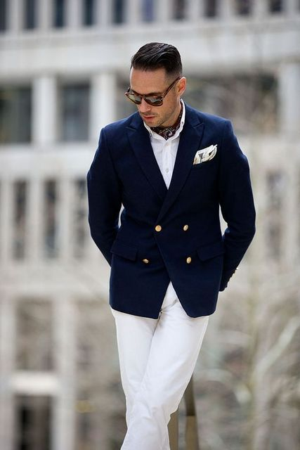 f74a1968bb 2018 navy blue men suit double-breasted peaked lapel tuxedos smart casual  business wedding suit for groom blazer jacket+pants