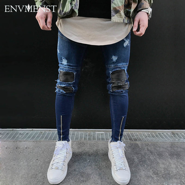 2017 Envmenst men PU leather patchwork ripped jeans ankle zipper punk rock denim pants mens hip hop skinny stretch biker jeans