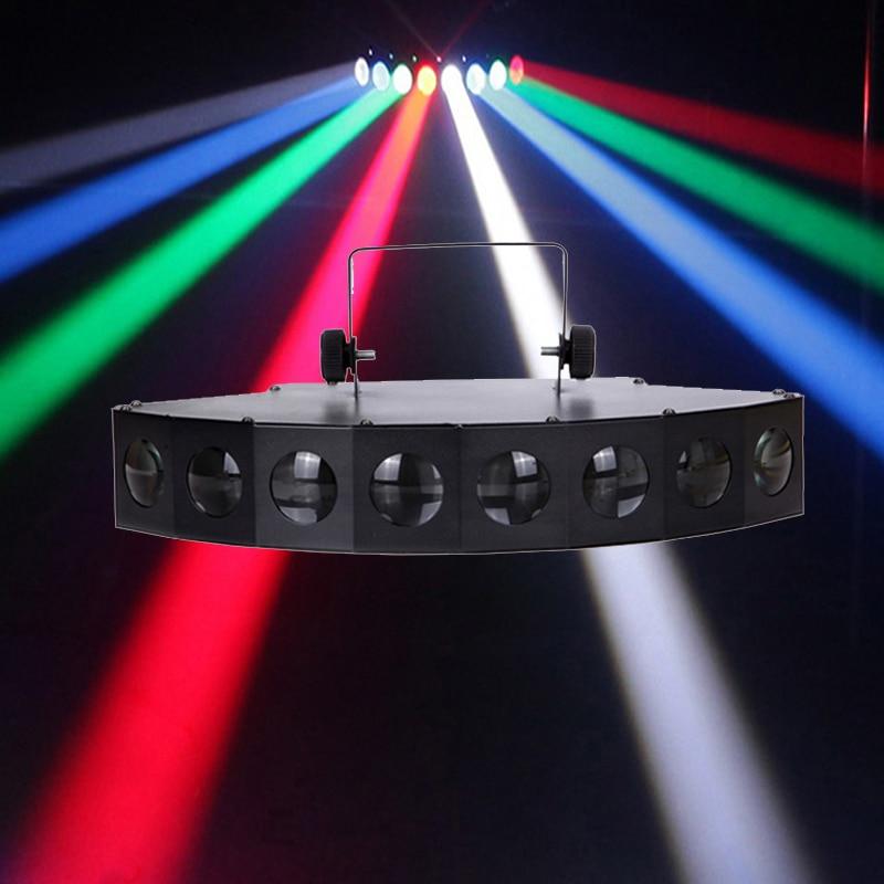 Высокая яркость восьмилучевой сканер вентилятор луч бар светильник луч лазерный сканер RGB dj клуб диско светильник Восемь глаз светодиодный луч лампы