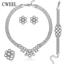 CWEEL Imitation Crystal Wedding Jewelry Set For Women Bride Afican Beads Sliver Plated Pendant Earrings Party Dress Accessories