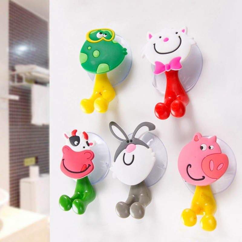 New Baby Care Toothbrush Holder Cute Cartoon Animal Shape Holder Sucker Suction Hooks Set Hanging Baby Toothbrush Holders
