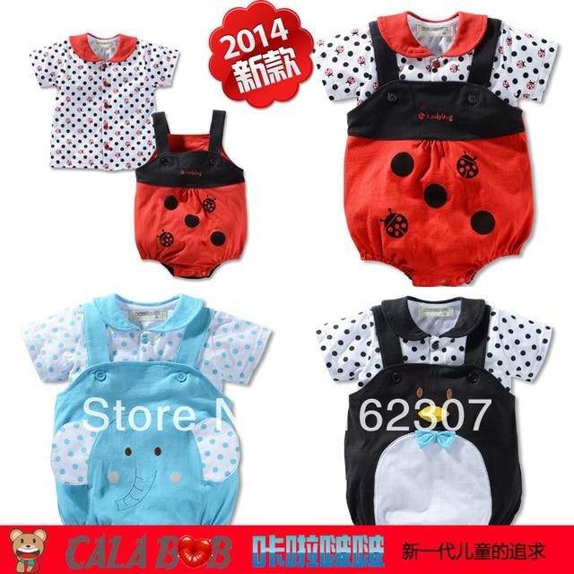 Free shipping top cotton baby clothes set hot sale children suit T shirt + overalls 2pcs baby girl boy suit