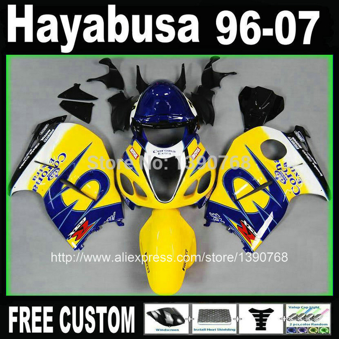 Free customize fairings bodywork for hayabusa suzuki GSX1300R 1996 2007 yellow blue Corona fairing kit GSX1300R 96 07 + Tank BT5