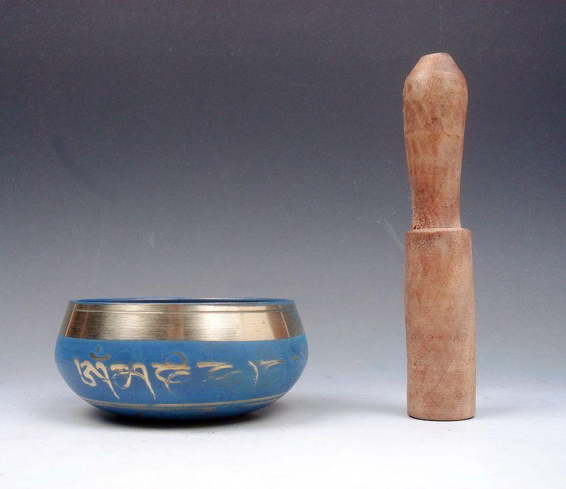 Латунь Золото свинка уникальный чакра Поющая чаша медитация гонги синий стороны молотком молоток античный сад серебряные украшения Латунь