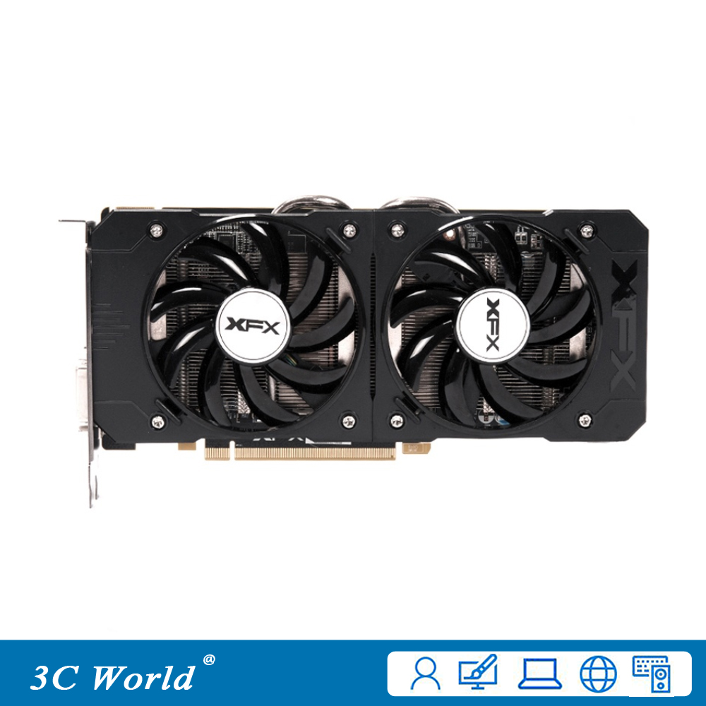 Used Graphics Cards XFX R7 370 4GB GDDR5 256bit PCI-E HDMI DisplayPort DVI-D 1024SPs Desktop Game graphic cards(China)
