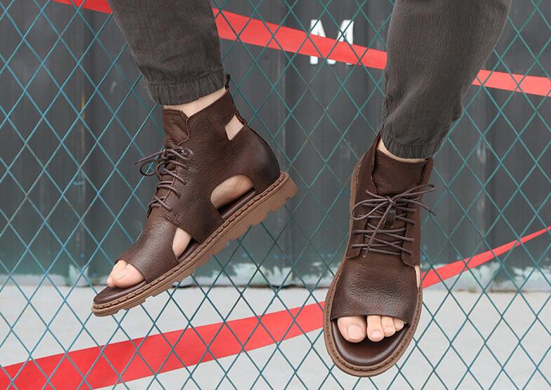 Male Summer Fashion Personality Genuine Leather Lace Up Leather Sandals Outdoor Shoes For Men Free Shipping