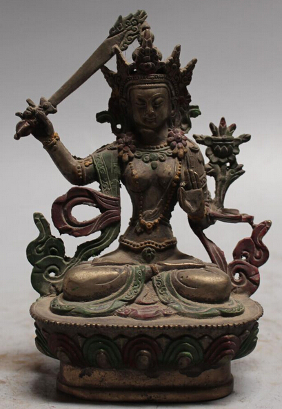 "7""Tibet Tibetan Buddhism ancient silver Painting Wenshu Manjushri Buddha Statue S0708"