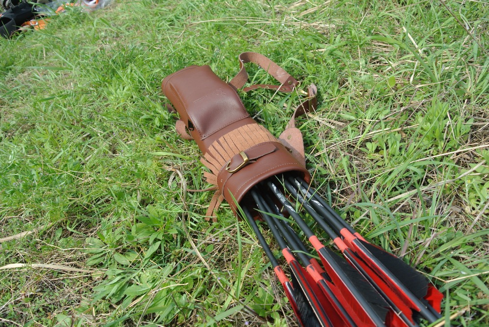 Popular style Arrow Quiver Cow Leather 53X12 cm Arrow Bag in Brown for Bow Archery Hunting Shooting