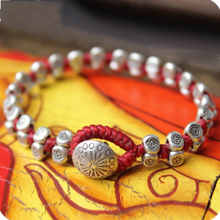 925 silver silver handmade sterling silver bracelet woven Red String Bracelet men and women lovers gifts year of fate