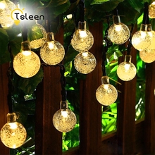 2pcs 7m length indoor outdoor decoration halloween 50 crystal ball solar powered led string lights waterproof led fairy lights - Solar Halloween Decorations