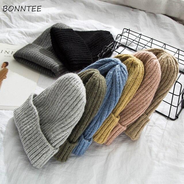 Bonnets pour femmes   Bonnet tricoté, couleur solide, tricoté, chaud doux, tendance, Simple femmes Style coréen, dame loisirs, élégant tout-assorti extérieur