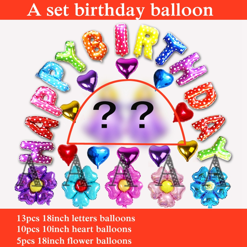 28pcs happy birthday balloons set foil material letters balloons for birthday pa