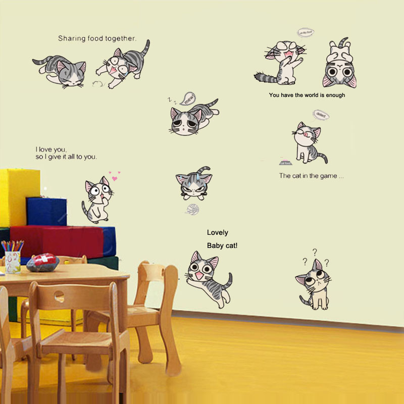 Chi S Sweet Home Cats Cute Cat Wall Stickers Set Of 10 Funny Cute Cats Wall Decal