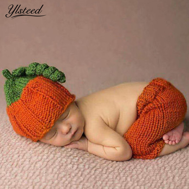 Newborn Photography Props Halloween Pumpkin Hat Crochet Baby Costume Set  Kawaii Baby Cap Winter Infant Outfit for Photo Shooting b3f8de251a82