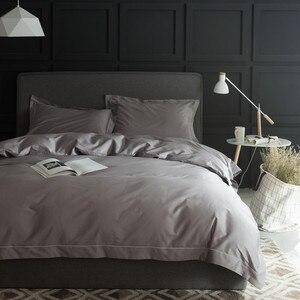 Image 4 - 1000TC Egypt cotton White Grey Bedding set 4PCS KING QUEEN SIZE tribute silk Bed set Cotton bedsheet bed linen linge de lit
