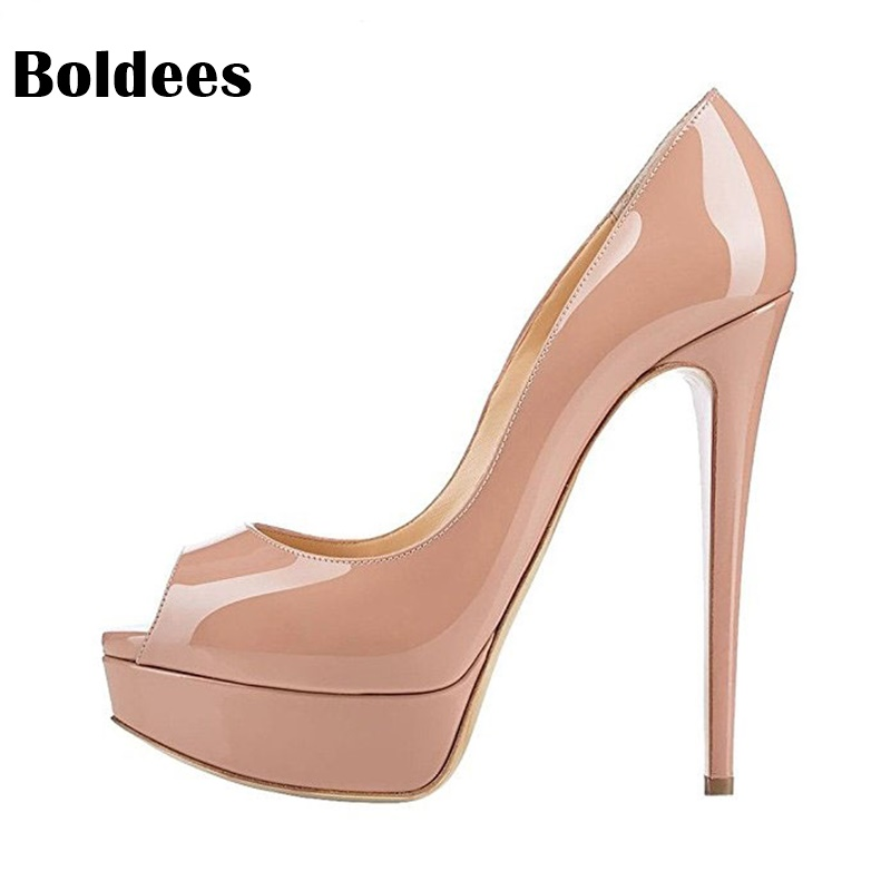Discount new fashion woman pumps peep toe 14cm high heel nude pumps patent leather shoes thin heel platform ladies shoes ladies handmade fashion patent patchwork 100mm wedding evening high heel pumps shoes cke103