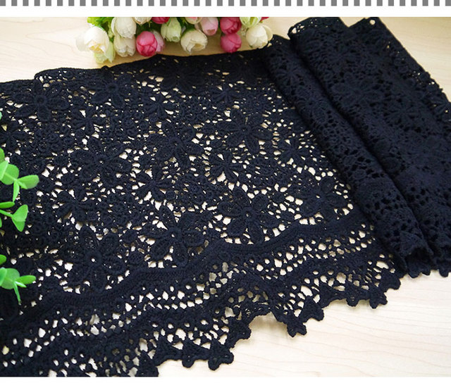 free shipping 3 yards/lot 25cm black Embroidered lace trim ribbon fabric  diy accessories wedding