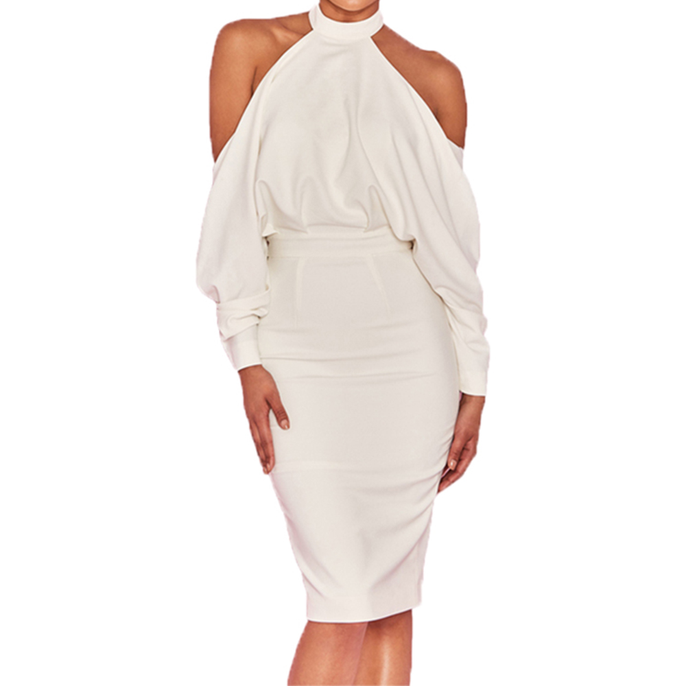 Women Bodycon White Draped Top Midi Dress gown