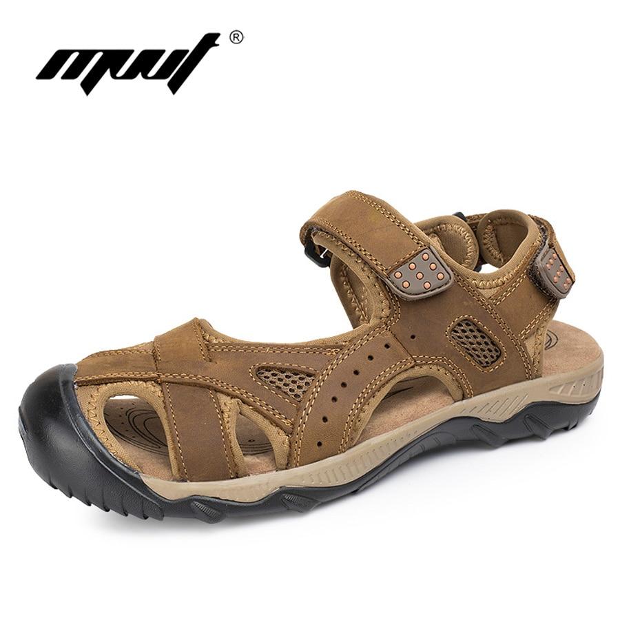 Mvvt ماركة كلاسيك زائد حجم الرجال الصنادل جلد طبيعي أحذية الرجال الصنادل لبس عدم الانزلاق في الهواء الطلق أحذية الرجال الصيف صندل