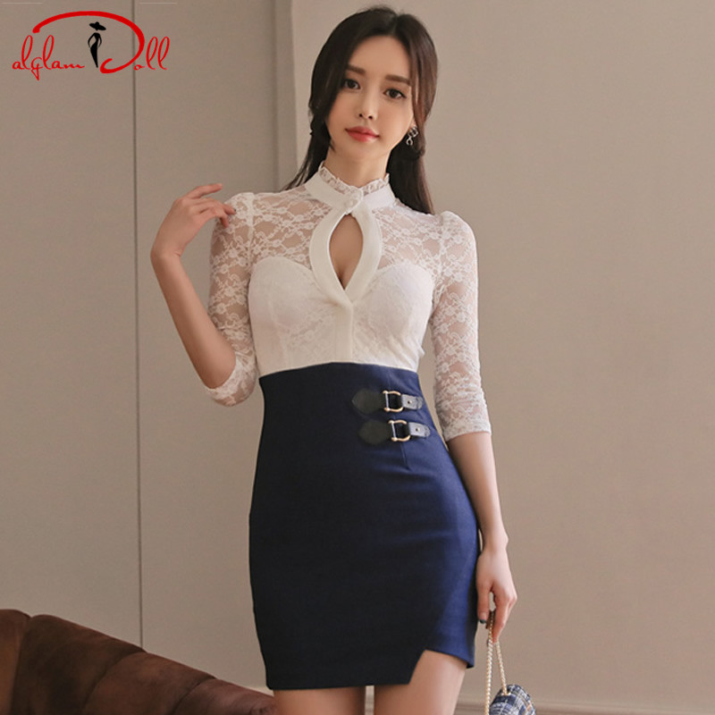2018 Spring OL Lace Patchwork Women Cloth Hollow Out Stand Neck Mini Bodycon Sexy Dress