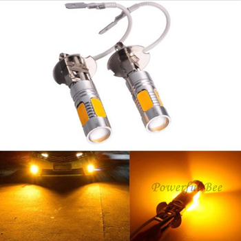 2 x H3 15W LED yellow amber car fog lamp cold white ice blue DRL running lights bulb for corolla 2007-10 Mazda 6 2003-15
