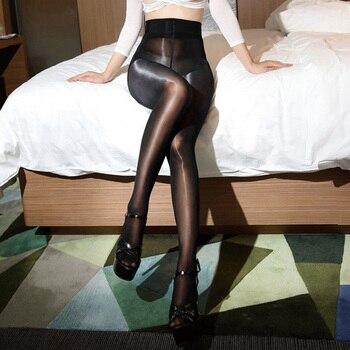 92d1030b0 Medias brillantes de aceite de cintura alta 8D para mujer Lencería caliente  ultrafina 1 línea brillante Sexy pantimedias 2018 Medias de Nylon  transparentes