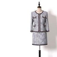 Классический 2019 Весна Для женщин цепи Брим серый шерстяной твид Блейзер костюм комплекты с круглым вырезом Короткое пальто куртка + мини юб