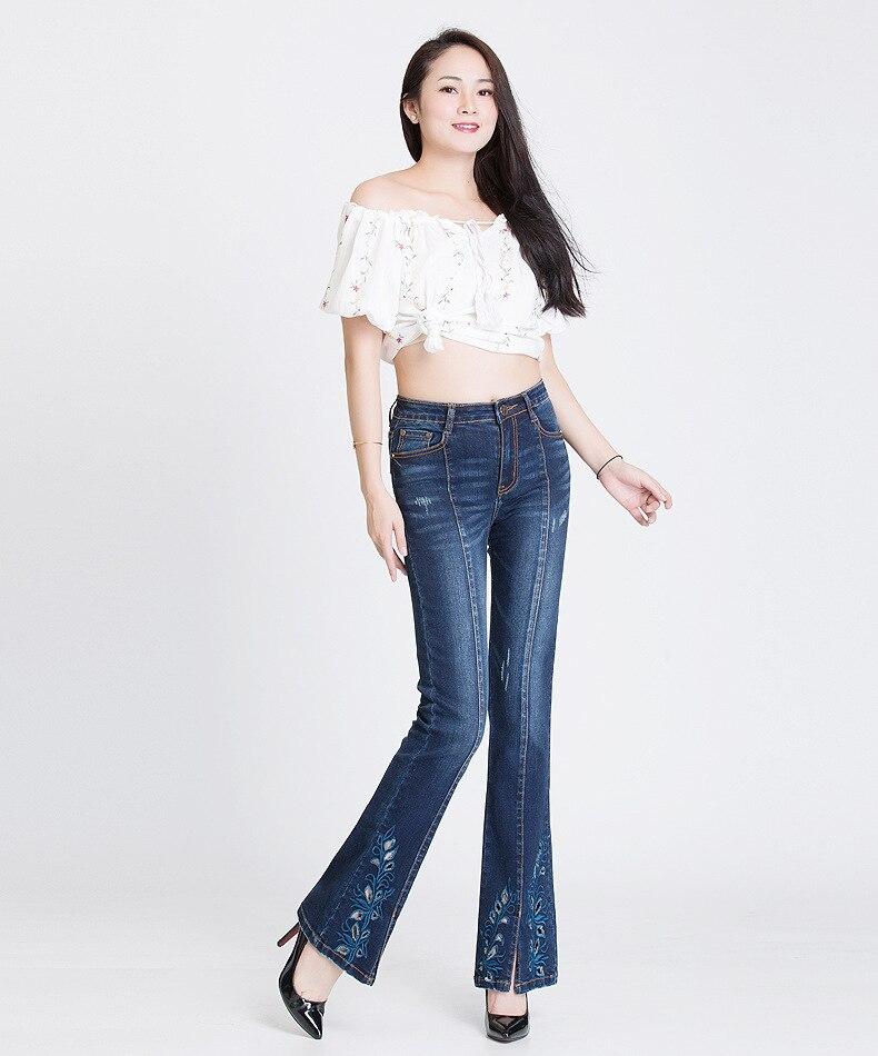 KSTUN FERZIGE Jeans Women Dark Blue Boot Cut Embroidered Hollow Out Flared Pants High Waist Stretch Long Trousers Mom Jeans Push Up 36 12