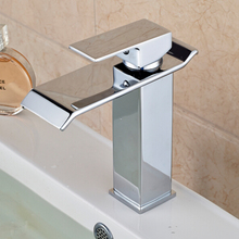 Waterfall Spout Bathroom Sink Faucet Soli Brass Single Handle Hole Mixer Tap Deck Mounted