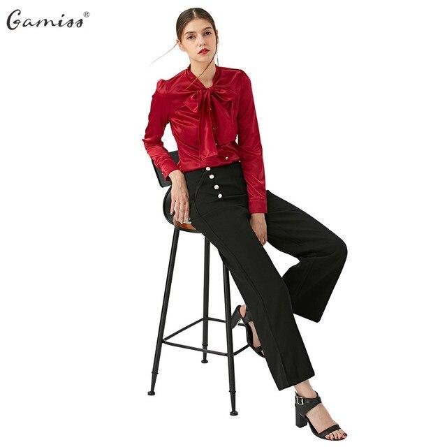 Gamiss Spring Elegant Lady Trousers Fashion Women Wide Leg Pants Casual High Waist Long Pants Button Office Work Wear pantalones