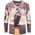 Cool 3d design t shirt homens 2015 novo outono moda moto motociclista impresso Magro Dos Homens de Manga Longa V Pescoço T Camisa Da Marca T Engraçado camisas