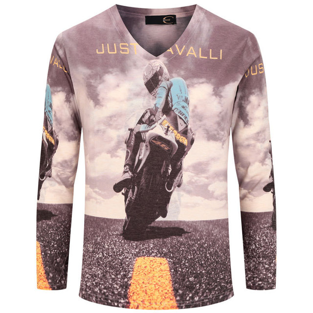 Cool Design 3D T Shirt Men 2015 New Autumn Fashion Moto Biker Printed Mens Slim Long Sleeve V Neck T Shirt Brand Funny T Shirts