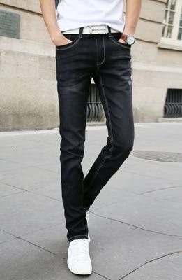 Мужские обтягивающие джинсовые брюки, небесно-голубые/белые однотонные зауженные джинсы, брюки стрейч, повседневный стиль, на весну-лето - Цвет: Черный
