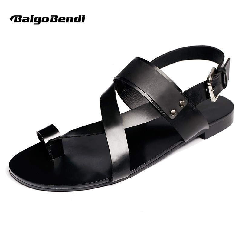US 6 10 Men Ankle Strap Genuine Leather T Strap Sandals Casual Top Thongs Summer Beach