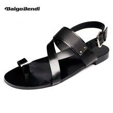 EE.UU. 6-10 de Los Hombres de la Correa Del Tobillo T-correa de Las Sandalias de Cuero Genuino Tapa Ocasional-Tangas Verano Playa Zapatos Mens Sandalias de Gladiador