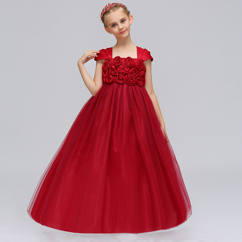 Wholesale Noble High Quality Floral Elegant Flower Girls Dress With RuffledGirls Princess Summer Party Long Prom Dress LP-71