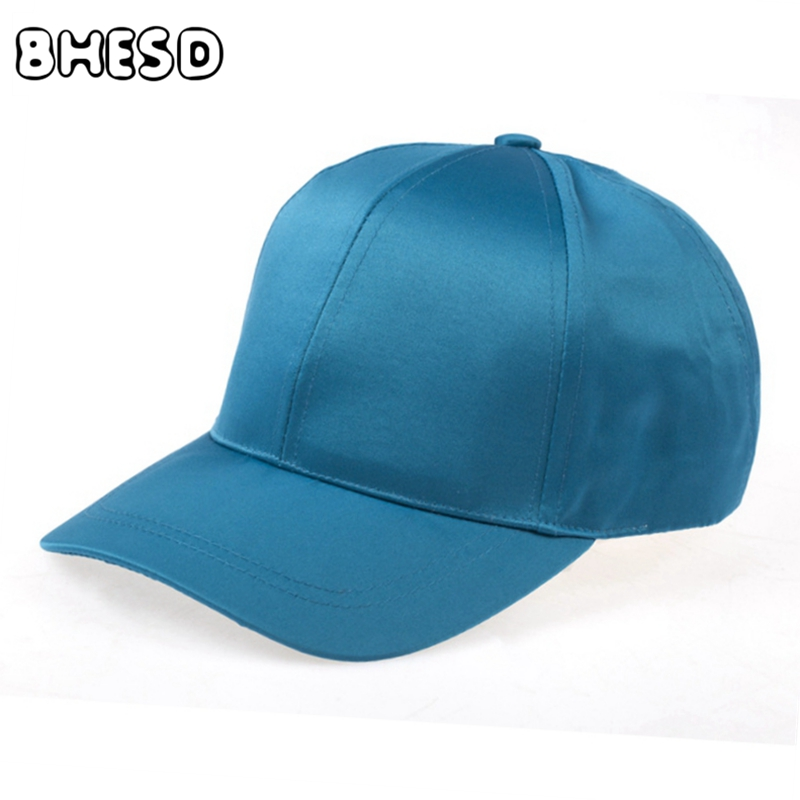 Prix pour BHESD 2017 Satin soyeux casquette de baseball Femmes Hommes Bleu Occasionnel papa chapeau Femmes Os femelle Drake Chapeaux Casquette Gorras ZXM-JY-231