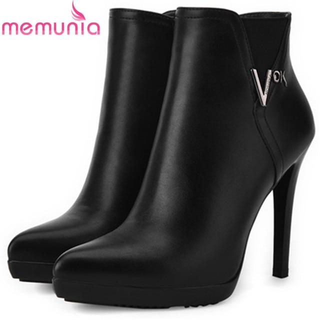 Memunia Office Lady Fashion Elegant Womens Boots Female Pu Soft Leather Ankle For Women Zip