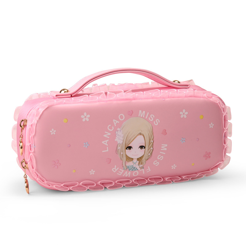 Kawaii girl lace Portable Pencil Case With Lock Large Capacity Cute Handle Pen Box Pencil Holder Stationery School Supplies kawaii cartoon girls school pencil case with lock cute pu leather large capacity pencil bag gift bts pen box stationery supplies