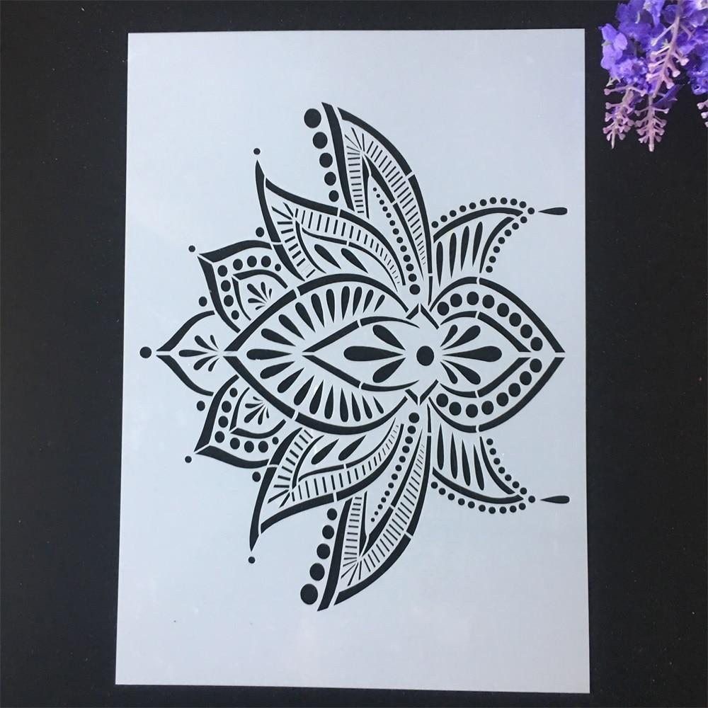 1Pcs A4 29*21cm Lotus Flower DIY Layering Stencils Painting Scrapbook Coloring Embossing Album Decorative Template