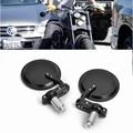 "BLACK Motorcycle 3"" Round 7/8"" Handle Bar End Rearview Side Mirrors Bike Harley"